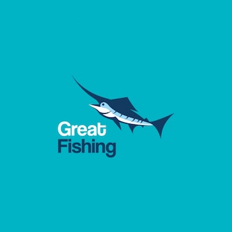 Logo with a fish on a blue background