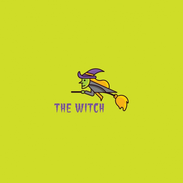 Logo with a flying witch