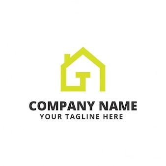 Logo with a green house