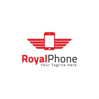 Logo with a mobile phone and wings