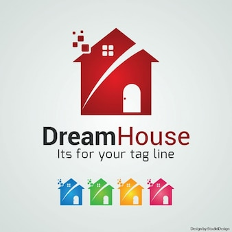 Logo with a red house