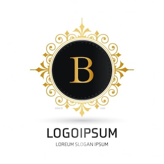 Logo with a round golden frame
