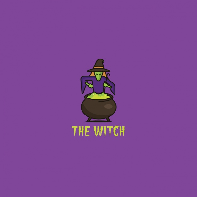 Logo with a witch and a potion