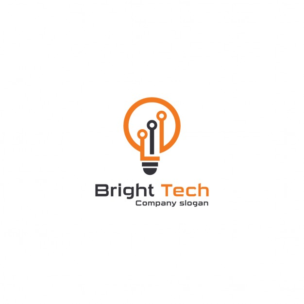 Logo with an orange light bulb
