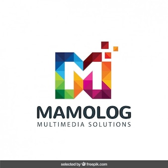 Logo with colorful pixelated initial