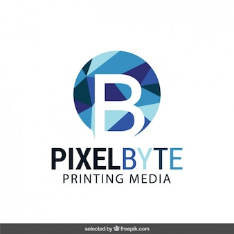 Logo with low poly circle