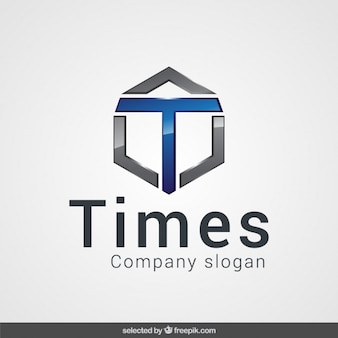 Logo with metallic abstract shape