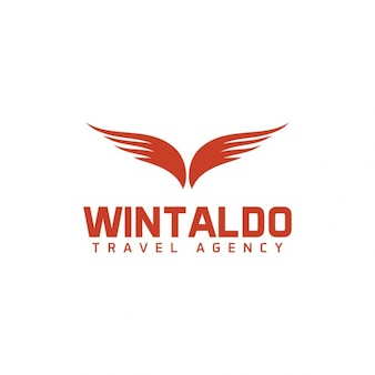 Logo with two red wings