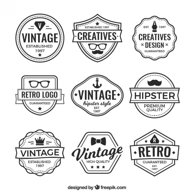 Logos and vintage badges collection