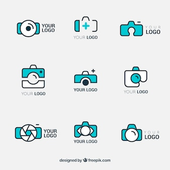 Logos collection of cameras in linear style