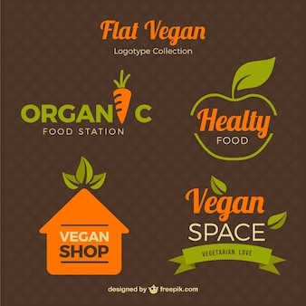 Logos flat style for vegetarian food