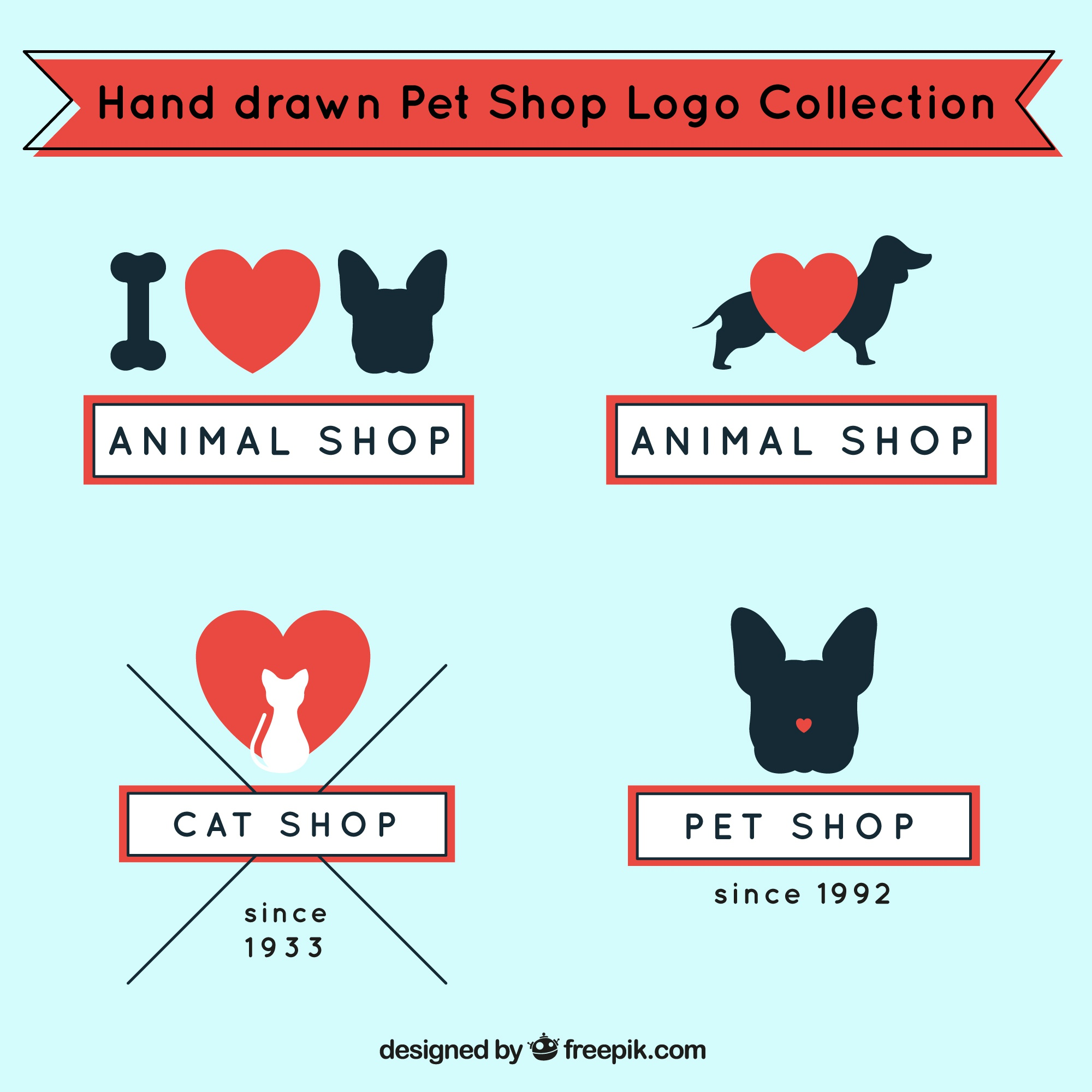 Logos for pet shop with red details