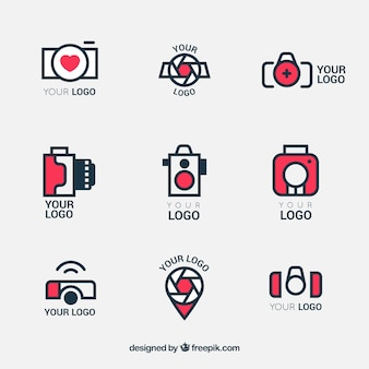 Logos of cameras in linear style set