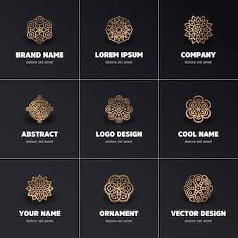 Logos of golden mandalas