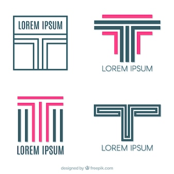 Logos of lines with letter  t