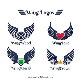 Logos with color element and wings
