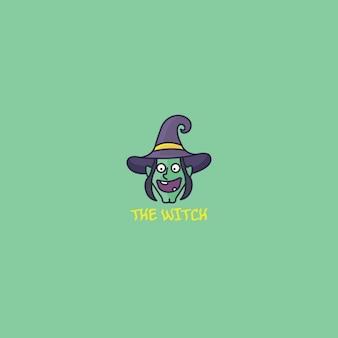 Logotipo con una bruja feliz