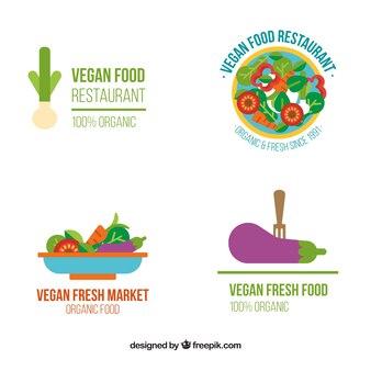 Logotypes of vegan food in flat design