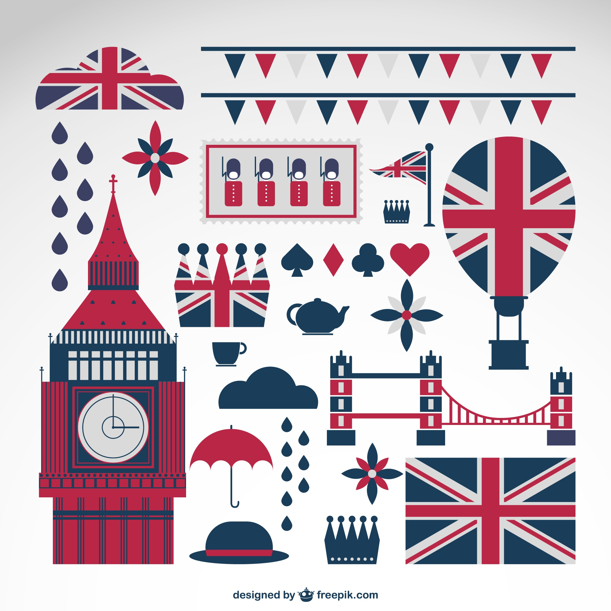 London elements with britain flags collection