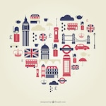 London heart flat icons