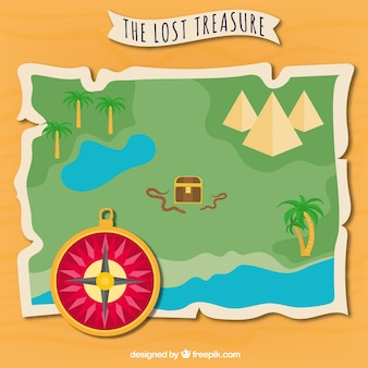 Lost treasure map illustration