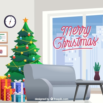 Lounge background with christmas decoration