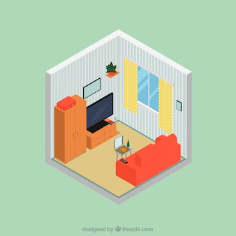 Lounge interior in isometric style