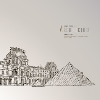 Louvre museum hand drawn