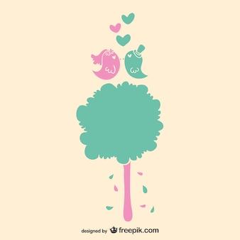 Love birds and tree wedding invitation