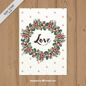 Love card of watercolor floral wreath with little hearts