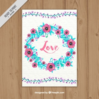 Love card of watercolor floral wreath