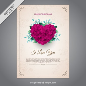 Love card with a heart made up of roses