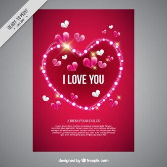 Love card with a heart with lights
