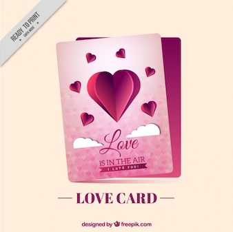 Love card with a paper heart