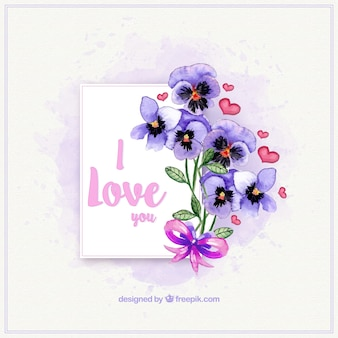 Love card with bouquet of watercolor flowers