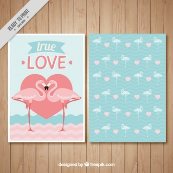 Love card with flamingos