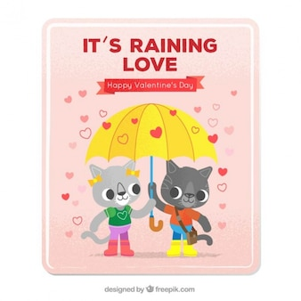 Love card with kittens in love with an umbrella