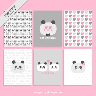 Love cards with cute panda in love