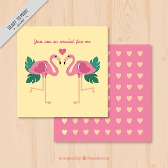 Love cards with flamingos and hearts