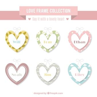 Love frames set in retro style