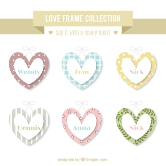 Love frames set in vintage style
