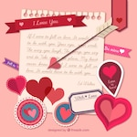 Love note with valentine day elements