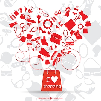 Love shopping vector graphic