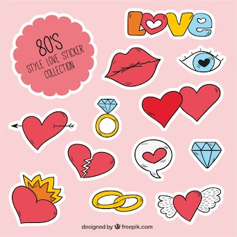 Love sticker collection in 80's style