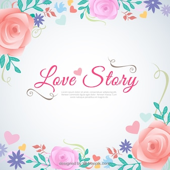 Love story background in floral style