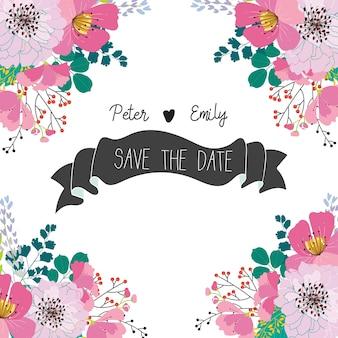 Любовь свадьбы цветочные графические элементы