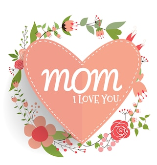Love you mom background with heart and flowers