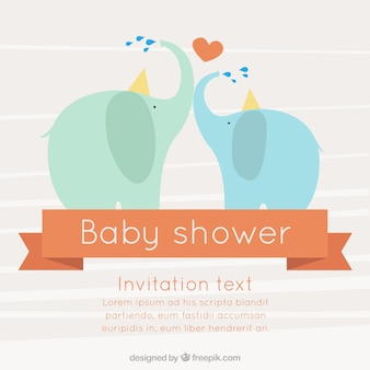Lovely baby shower card with elephants