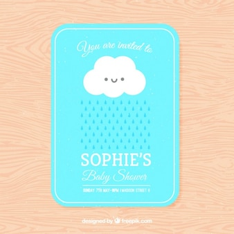 Lovely baby shower invitation with a cloud