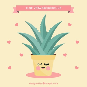 Lovely background of aloe vera flowerpot with hearts